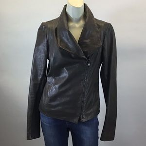 Vince Taupe/ Grey  Leather Jacket with Fabric Side